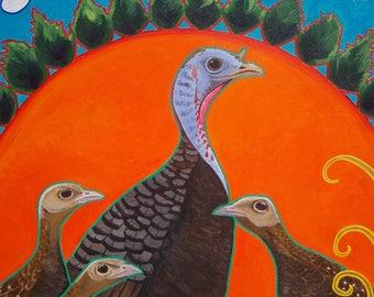 Print Heedful Hen Turkeys