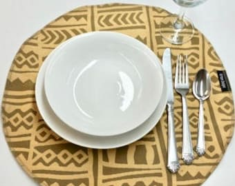 African Golden Taupe Mudcloth Inspired 16-inch Placemat Table Centerpiece Handmade Artisan