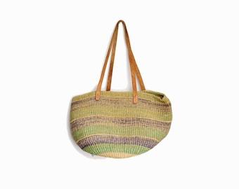 Vintage Striped Jute Tote Bag / Market Bag / Leather Strap Straw Bag / Boho Jute Purse