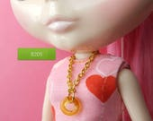 necklace for Blythe doll - topaz glass open circle pendant on gold chain B205