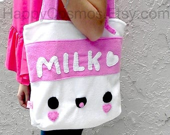 ON SALE - Milk Tote Bag - Schoolbag, Backpack, Bookbag, Reusable Bag, Beach Bag, Women's Tote, Christmas Gift, Halloween Trick or Treat Bag