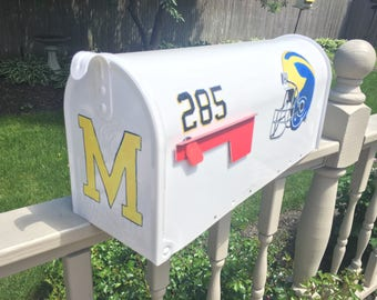 Painted mailbox, hand painted Michigan mailbox, blue and gold mailbox, M mailbox, Michigan personalized painted mailbox, football mailbox