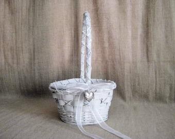 Summer Sale White Flower Girl Basket / Sweetheart Basket for Wedding or Reception