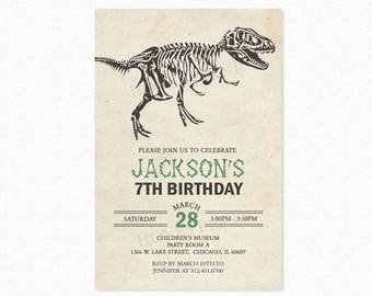 Dinosaur Birthday Party Invitation, Dino Birthday Party Invitations, Dinosaur Theme, Green, Printable or Printed