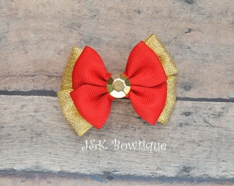 Red and gold hair bow, Christmas hair bow, holiday hair bow, hair bows, baby bows, small hair bow, toddler hair bow, gold hair bow