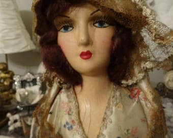 Vintage Shabby French Boudoir Composition Doll