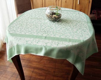 Vintage Damask Tablecloth Mint Green Roses Art Deco 49 x 52