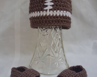 Crocheted Baby Newborn Football Hat and Loafers Photo Prop Shower Gift