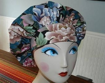 Asian Roses  Banded Bouffant Surgical Cap Bakers Cap/Chef Cap