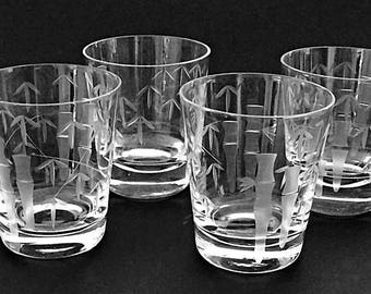 4 Vintage Bar Glasses Etched Glass Whiskey Glasses Tapered Rocks Glasses Low Ball Glasses Etched Asian Bamboo Glass Barware