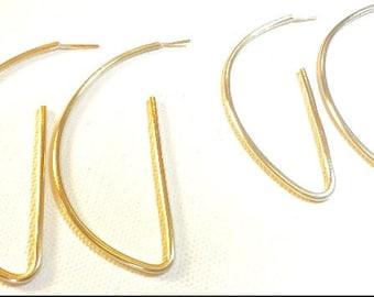 Brass Half Hoop Earrings