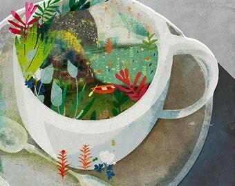 COFFEE - art print // cup of coffee illustration // kitchen decor