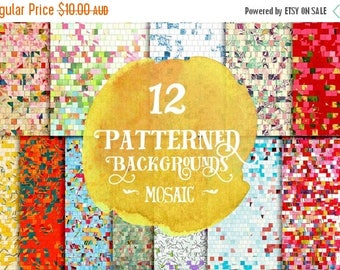 90% OFF Sale Digital Papers - 12 - Pixel Mosaic Tile Patterns - Instant Download