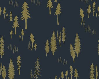 Navy and Olive Pine Tree Jersey Knit Fabric, Woodlands Fusion By Bari J Art Gallery Fabrics, Timberland Woodlands, 1 yard JERSEY KNIT