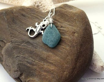 Sterling Sea Glass Necklace - Sea Glass Necklace - Gecko  Charm Necklace - FREE Shipping inside the United States