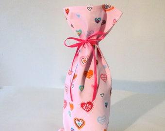 Valentine Wine Cloth Bag - Gift Bag, Cloth Wine Bag loaded with pretty Hearts, Pretty Pink Wine Bag, Gift Bag, Cloth Bag, Wine Bag