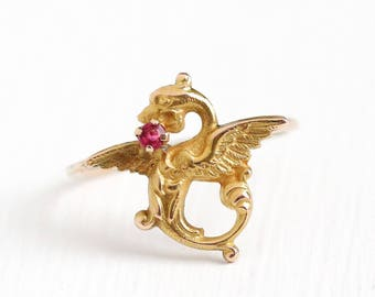 Antique 10k Yellow Gold Dragon Ring - Vintage Size 5 1/2 Edwardian Early 1900s Red Glass Stone Fine Stick Pin Conversion Figural Jewelry