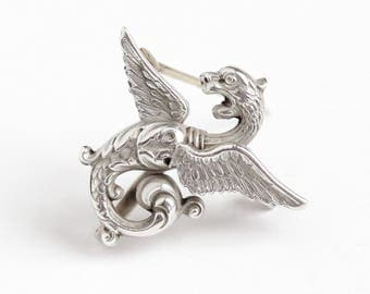 Antique Sterling Silver Griffin Art Nouveau Watch Pin - 1910s Edwardian Mythical Winged Feathered Figural Serpent Creature Brooch Jewelry