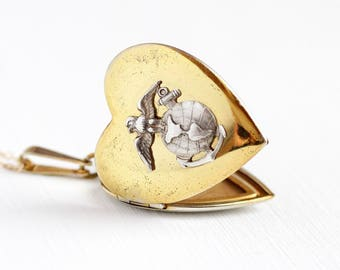 Vintage Marines Locket - Rosy Yellow Gold Washed USMC Heart Pendant - 1940s WWII Silver Eagle Globe Anchor Military Sweetheart Jewelry