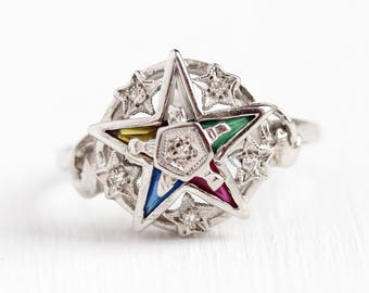 Vintage Star Ring - 10k White Gold Order of the Eastern Star Diamond Ring - Retro Size 8 1/4 Masonic OES Created Colorful Gems Fine Jewelry