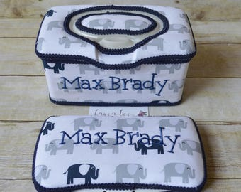 Set of 2, Large Nursery Wipe Case and Travel Baby Wipe Case, Navy Blue and Gray Elephants, Baby Shower Gift Set, Large Wipease, Small Case