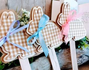 Wooden Rabbit Cake topper or Floral Arrangement Focal Decoration - PETER RABBIT - EASTER - Spring Garden Party