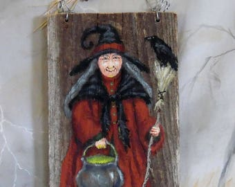 """Belladonna's Brew, witch, Halloween, hand painted barnwood, from the Ozarks, 5 1/2"""" x 9 1/2"""""""