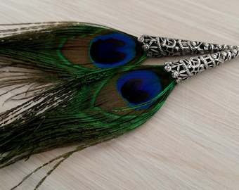 Long peacock feather and silver filigree earrings