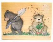 bear rubber stamp large woodblock Gruffies gardening digging up dirt