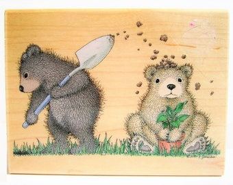 bear rubber stamp large woodblock Gruffies gardening digging up dirt