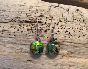 jewelry, dichroic glass, glass,handmade fused glass, dichroic glass earrings, long fused glass earrings, Long Dangle Dichroic Glass earrings