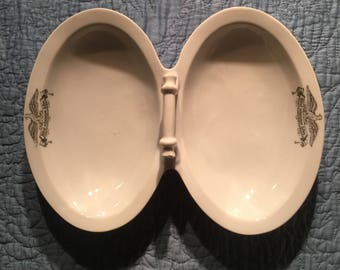 French Fleamarket Find:  Antique Unique Ironstone Double Basin Bowl with Ornate Handle, Hotel Eagle Emblem, Berlin and Austria Marks