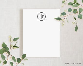 Circle Monogram Note Card Set // Stationery