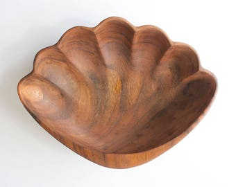Vintage Monkeypod Wood Clamshell Serving Bowl