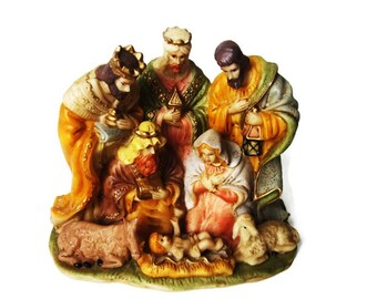 Vintage Nativity/ Resin Table Top Christmas Nativity / One Piece Small Holy Family/ Bethlehem Stable