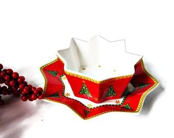 2 Piece Maxwell Williams Christmas Dip Dish Combo/ Christmas Tree Porcelain Bowl and Plate/Star Bright  Xmas Entertaining Tableware