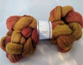 """Roving Combed Top Babydoll Southdown Wool & Alpaca Blend Rust and Gold Hand Dyed 2 Oz (More Avail) Spinning Fiber Felting  """"  Sienna  """""""