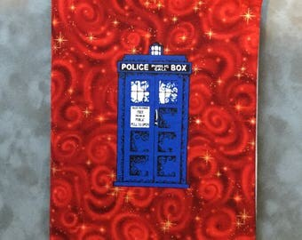Doctor Who Police Box TARDIS Red Space  Quilted Refillable Journal Notebook