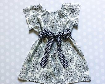 Navy Medallion Dress - Girls Spring Dress - Spring Dresses for Girls - Baby Girl Dress - Baby Girl Dress - Easter Dress - Spring Dress