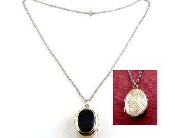 Sterling Silver & Black Enamel Oval Double Locket -Engraved Feather Plume