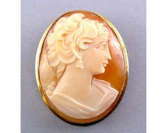 Van Dell G.F. Frame Carved Shell Woman Cameo Pin - Pendant, Convertible Brooch
