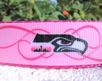 """Pink Seattle Seahawks Dog Collar 1"""" width Side Release buckle or Martingale collar style"""