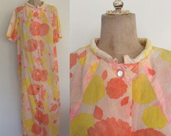 1970's Pink Floral Print House Dress Floor Length Button Up Maxi Dress Size Large XL by Maeberry Vintage
