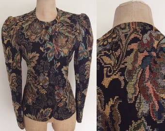 1980's Black Tapestry Fitted Jacket w/ Puff Sleeves Size Medium Large by Maeberry Vintage