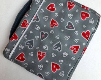 Bible Cover Custom Fit Gray with Red Hearts
