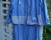 Denim Dress/ Denim Jacket/ XL Denim 2 Pc. Set/ Denim Check Trim/ Embroidery Embellishment/ Retro Denim Set/ Shabbyfab Funwear