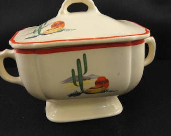 Hacienda pattern Sugar Bowl with Lid Homer Laughlin