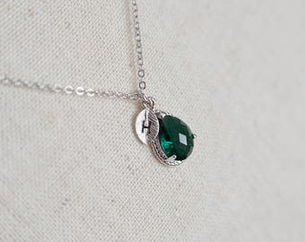 Green Emerald Swarovski Teardrop Initial Necklace, May Birthstone Personalized Initial Necklace, Monogram Initial Necklace, Bridesmaids Gift