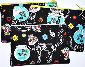 Cat Day of the Dead Sugar Skulls Zipper Pouch Coin Purse Change Purse Wallet Gift Idea