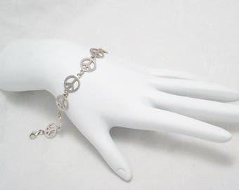 Sterling silver Peace Sign Symbol Bracelet filigree chain stacking layering somewhat dainty womens fine jewelry